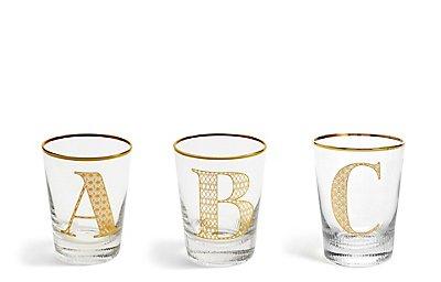 Individuele alfabetglazen met letter A - Z, , catlanding