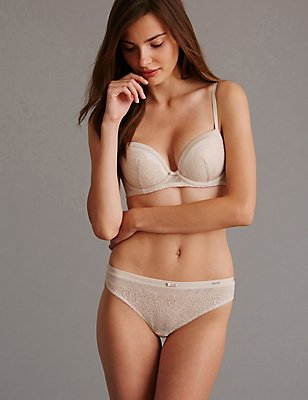 Dentelle Lace Low Rise Set with Padded Balcony A-E, , catlanding