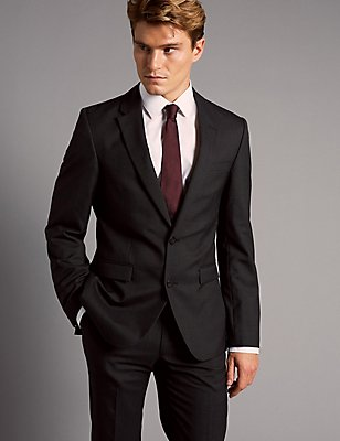 Charcoal Tailored Fit Italian Wool Suit, , catlanding