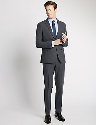 Navy Textured Modern Tailored Suit, , catlanding