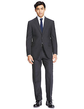 Navy Striped Regular Fit Wool Suit, , catlanding
