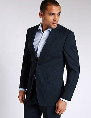 Marineblauw, wollen kostuum met normale pasvorm en streepmotief, , catlanding