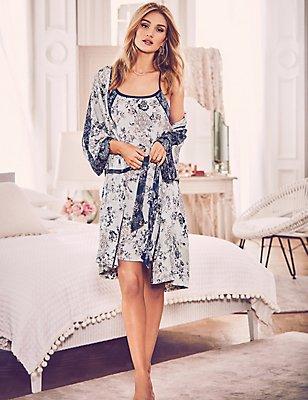 Satin Floral Print Dressing Gown & Chemise Set, , catlanding