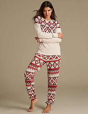 Fairisle Print Long Sleeve Pyjama Set, , catlanding