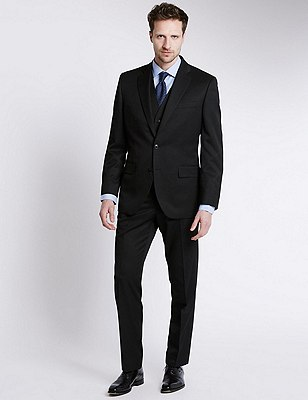 Big & Tall Black Regular Fit Suit Including Waistcoat , , catlanding