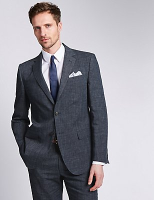 Grey Textured Regular Fit Suit , , catlanding