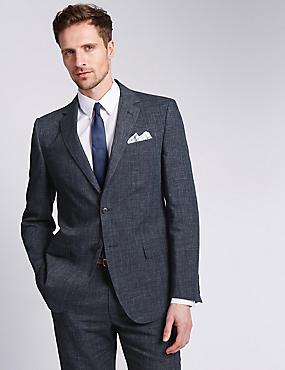 Grey Textured Regular Fit Suit , , catlanding