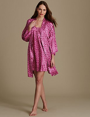 Satin Dressing Gown & Chemise Set, , catlanding