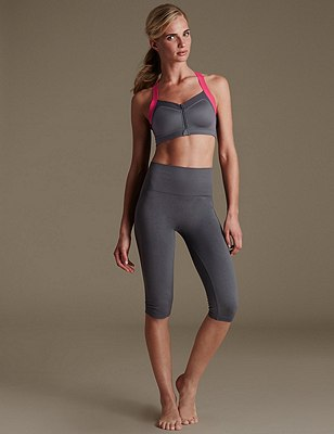 Cropped Leggings with High Impact Sports B-E, , catlanding