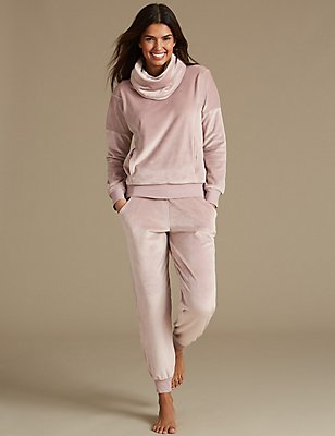 Fleece Long Sleeve Pyjama Set, , catlanding