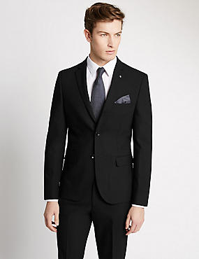 Black Textured Modern Slim 3 Piece Suit, , catlanding