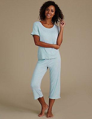 Frill Short Sleeve Pyjama Set, , catlanding