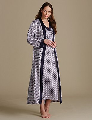 Geometric Print Dressing Gown & Nightdress Set, , catlanding