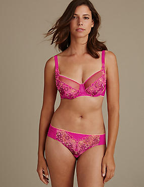 Multi Floral Embroidered Set with Non-Padded Balcony DD-GG , , catlanding
