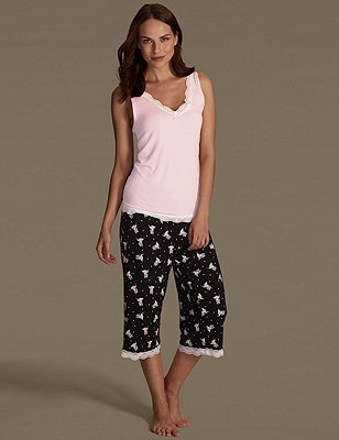 Bird Print Cropped Pyjamas, , catlanding