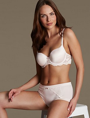 Sensual Sheen & Lace Set with Padded Underwired Balcony A-E, , catlanding