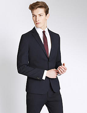 Navy Striped Modern Slim Fit Suit , , catlanding