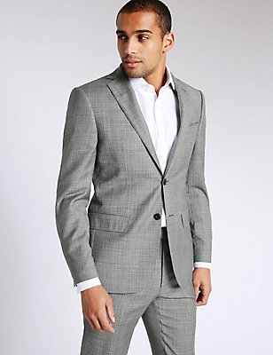 Grey Textured Tailored Fit Wool Suit, , catlanding