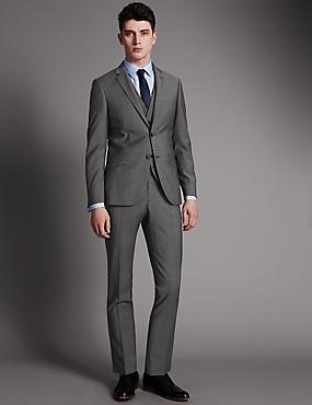 Grey Slim Fit Wool 3 Piece Suit, , catlanding