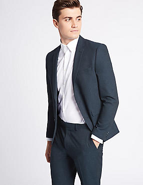 Navy Textured Modern Slim Fit Suit, , catlanding