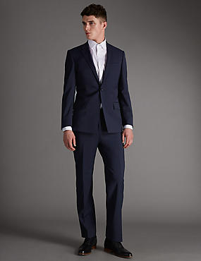 Navy Slim Fit Wool Rich with Lycra Suit, , catlanding