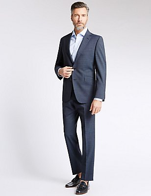 Blue Checked Tailored Fit Suit , , catlanding