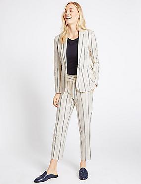 Linen Blend Striped Blazer & Trousers Set, , catlanding