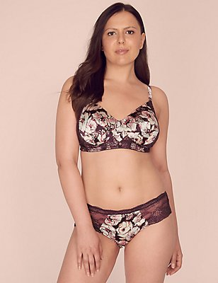 Silk & Lace Floral Print Post Surgery Set with Padded A-DD, , catlanding