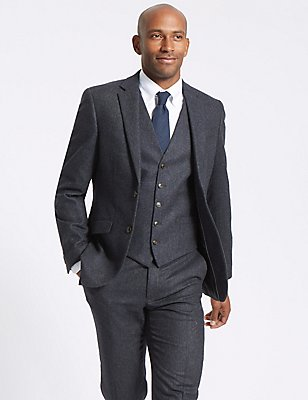 Navy Wool Blend Suit with Italian Fabric, , catlanding