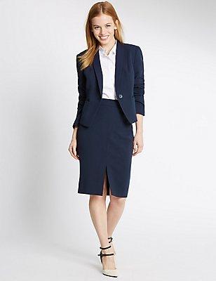 PETITE Grosgrain Blazer & Skirt Set, , catlanding