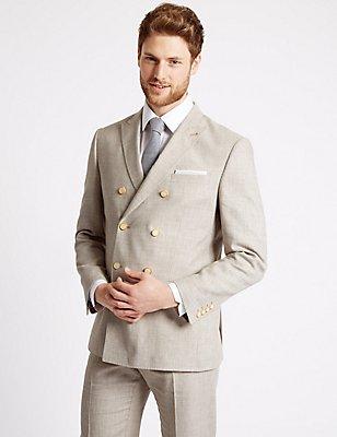 Beige Textured Regular Fit Suit, , catlanding