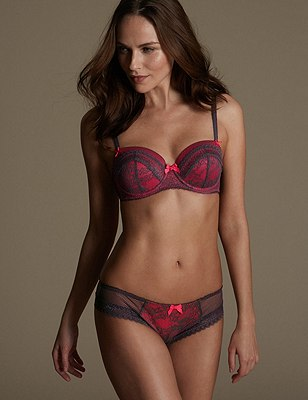 Lucy Lace Set with Padded Underwired Balcony A-E, , catlanding
