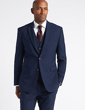 Navy Textured Slim Fit 3 Piece Suit, , catlanding