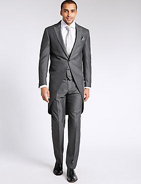 Grey Textured Tailored Fit Morning Suit, , catlanding