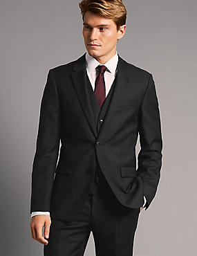 Black Tailored Fit Italian Wool 3 Piece Suit, , catlanding