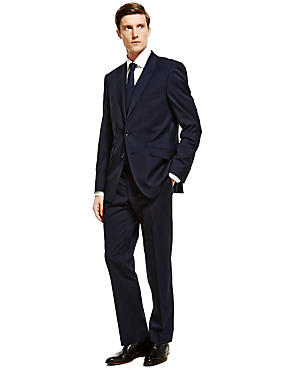 Big & Tall Navy Tailored Fit 3 Piece Suit, , catlanding