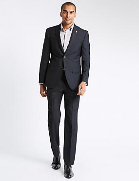 Navy Textured Tailored Fit Suit, , catlanding
