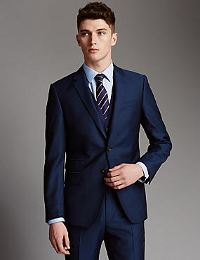 Blue Slim Fit Wool 3 Piece Suit, , catlanding