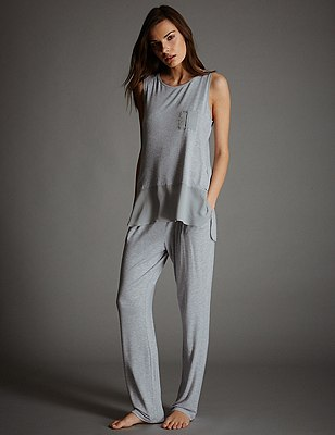 Vest Top Pyjama Set, , catlanding
