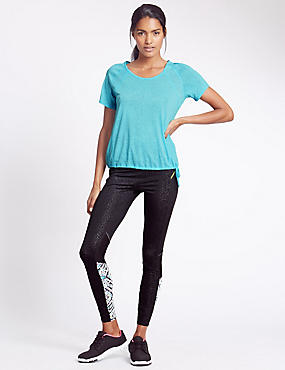 Relaxed Fit Bubble T-Shirt and Print Panel Leggings Set , , catlanding