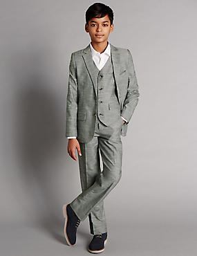 Pure Cotton Chambray Suit Including Waistcoat (5-14 Years)