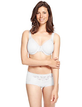 Hibiscus Lace Set with Non-Padded Underwired Spacer Minimiser Full Cup C-G, , catlanding