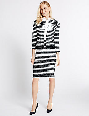 Striped Blazer & Skirt Set, , catlanding