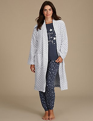 Dressing Gown with Printed Pyjama Set, , catlanding
