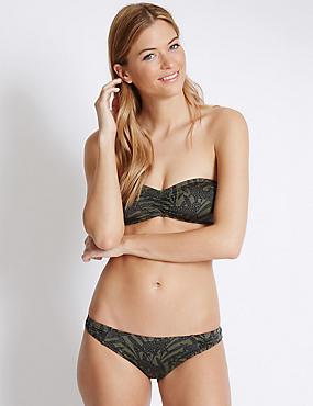 Animal Print Bandeau Bikini Set, , catlanding