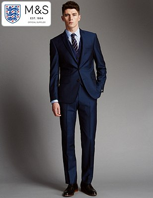 Official England Football Team Big & Tall Blue Tailored Fit Suit Including Waistcoat, , catlanding