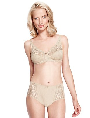 Jacquard Lace Non-Wired Set with Full Cup A-DD, , catlanding