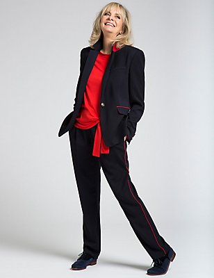 Contrast Piped Blazer & Trousers Set, , catlanding