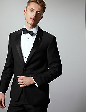 Black  Tailored Fit Italian Wool Tuxedo Suit, , catlanding