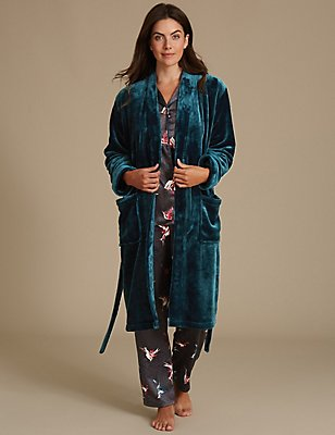 Printed Pyjamas Set with Dressing Gown, , catlanding